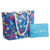 """Seashells Beach Tote with """"Wet Suit"""" Pouch"""
