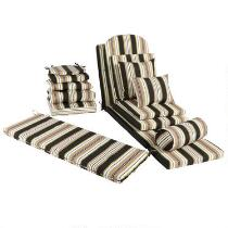 Black/Beige Stripe All-Weather Chair Cushions Collection