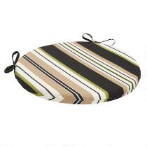 Black/Beige Stripe Indoor/Outdoor Round Bistro Seat Pad