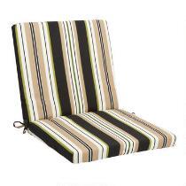 Black/Beige Stripe Indoor/Outdoor Mid-Back Chair Pad