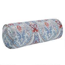 Paisley Blue Indoor/Outdoor Lumbar Roll Pillow