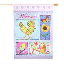 """""""Welcome"""" Spring Icons Yard Flag"""
