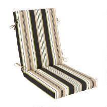 Black/Beige Stripe Indoor/Outdoor Hinged Chair Pad