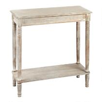 White Antique Rectangular Console Table with Shelf