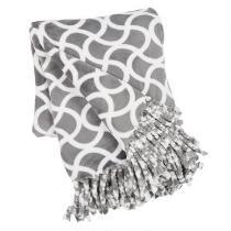 Gray Geo Printed Fringe Throw Blanket