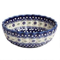 Floral Dot Polish Pottery Fluted Serving Bowl