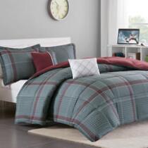 Max Gray/Red Plaid Comforter Set