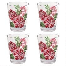 Coastal Living Seascapes™ Havana Hibiscus Flowers Double Old Fashioned Acrylic Glasses, Set of 4