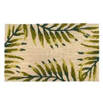 Beige/Green Palm Hand-Hooked All-Weather Rug