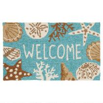 """Welcome"" Seashell Hooked Multipurpose Mat"