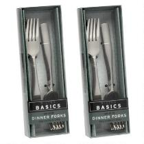 10-Pack Emerson Etched Lines Dinner Forks, Set of 2