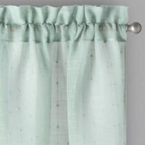 Solid Textured Stripe Rod Pocket Window Curtains, Set of 2