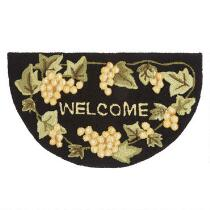 """Welcome"" Grapes Hand-Hooked Slice Floor Mat"