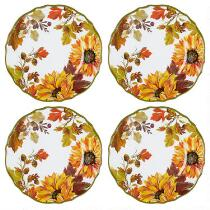 Autumn Sunflowers Melamine Dinner Plates, Set of 4