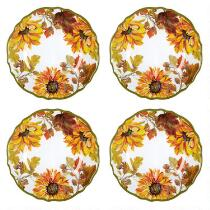 Autumn Sunflowers Melamine Salad Plates, Set of 4