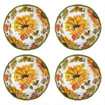 Autumn Sunflowers Melamine Cereal Bowls, Set of 4