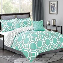 Aqua Fingerlake Geometric Comforter Set, 7-Piece