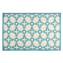 Blue/Ivory Geo Circles Hand-Hooked Area Rug