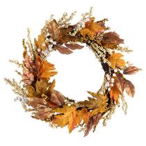 "24"" Gold Metallic Leaves and Berries Faux Wreath"