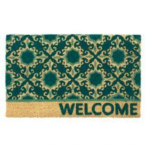 """""""Welcome"""" Teal Medallions Oversized Coir Door Mat"""
