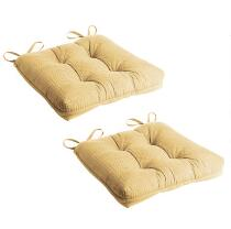 Solid Tufted Chair Pads with Quilted Pattern, Set of 2