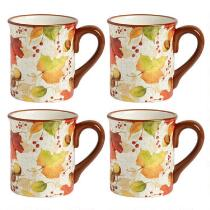 Falling Leaf Ceramic Mugs, Set of 4