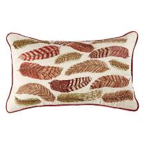 Beaded Feathers Embroidered Oblong Throw Pillow