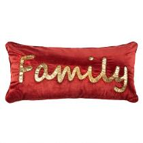 "Gold ""Family"" Velvet Oblong Throw Pillow"
