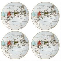 Coastal Scene Ceramic Appetizer Plates, Set of 4