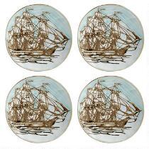 Coastal Ship Ceramic Appetizer Plates, Set of 4