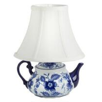 "12.5"" Blue Floral Ceramic Teapot Accent Lamp"