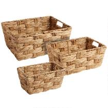 Handcrafted Water Hyacinth Basket with Handles