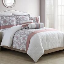 Darla Gray/Pink Medallion Comforter Set, 8-Piece