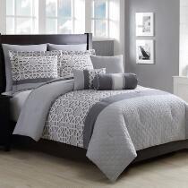 Miles Gray Contemporary Geo Comforter Set, 8-Piece
