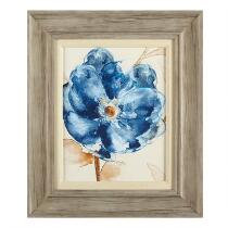 "19""x22"" Blue Flower Matted Linen Fillet Framed Wall Art"