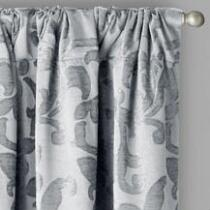Chenille Scroll Jacquard Window Curtains, Set of 2