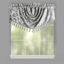 Scroll Jacquard Angled Window Valances, Set of 2