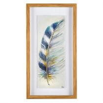 "14""x26"" Blue Feather Shadowbox Framed Wall Art"