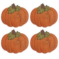 Pumpkin-Shaped Embroidered Placemats, Set of 4