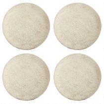Cream Antique Lace Handmade Ceramic Dinner Plates, Set of 4
