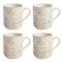 Cream Antique Lace Handmade Ceramic Mugs, Set of 4