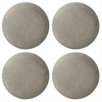 Gray Lace Handmade Ceramic Dinner Plates, Set of 4