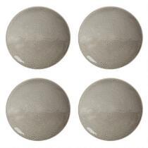Gray Lace Handmade Ceramic Salad Plates, Set of 4