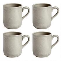 Gray Lace Handmade Ceramic Mugs, Set of 4