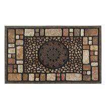 Brown Stonework Medallion Stain-Resistant Door Mat