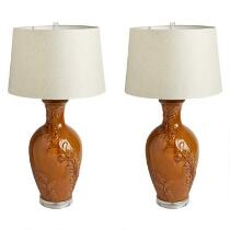 "32"" Floral Jug Table Lamps, Set of 2"