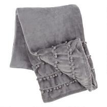 Gray Triple Pom-Pom Throw Blanket