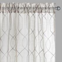 Gray Gatework Embroidered Window Curtains, Set of 2