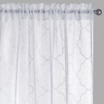 White Moroccan Embroidered Window Curtains, Set of 2