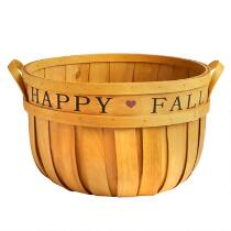 """Happy Fall"" Stencil Bushel Basket"